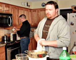 January - Brothers make Chop Suey in their Mom's kitchen New Year's Day. Momma Sue raised some wonderful boys! And they sure love her.