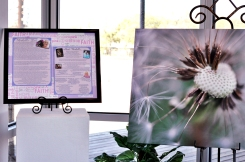 The entrance to the exhibit features one of our founders Michelle who has been battling breast cancer. We used one of her photos for a canvas.