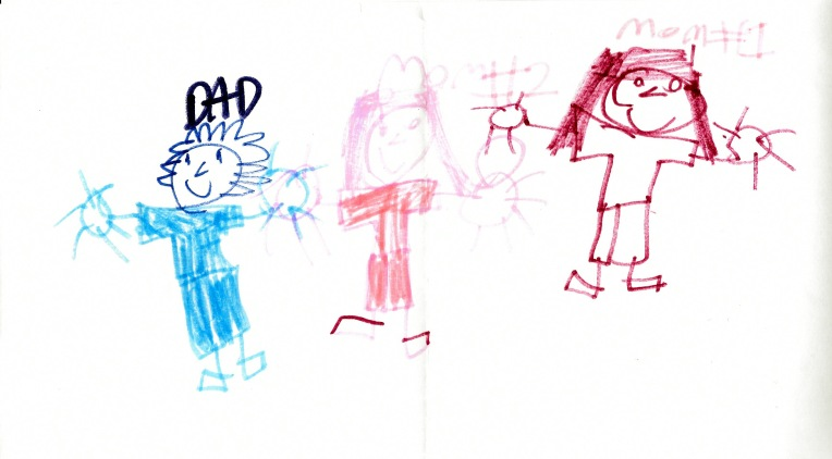 Drawing for Dad by the youngest daughter. I love how she didn't quite get us holding hands. So, she made a ring that connects us.