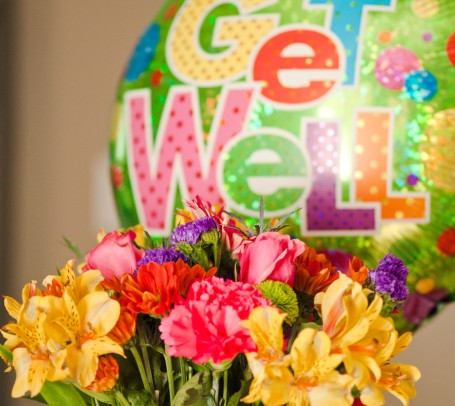 Flowers and balloon after my surgery.