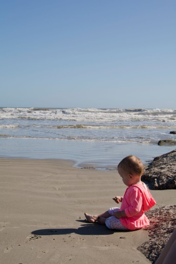 The last day of the trip, we took baby to the Galveston Beach.