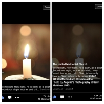 My image from my 1st candlelight service at United Methodist Church used in a post on their Facebook fan page.