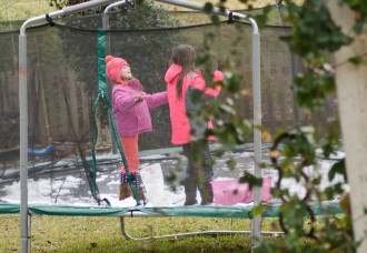 The snow melted. Some ice was left. The girls wished for more snow (they got it a week later).