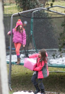But that didn't stop them from trying to use the leftover ice/snow from the trampoline to build a ICE SLIDE.