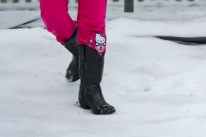 Hello Kitty in the snow.